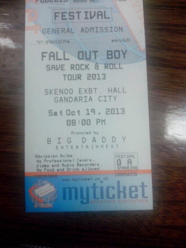 Jual Tiket Konser Fall Out Boy 19 Oktober 2013 Jakarta