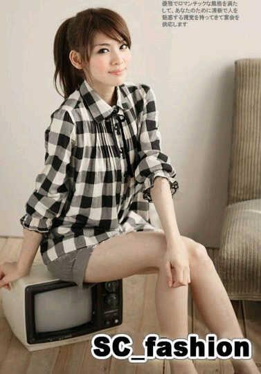 Tanktop Blouse Kemeja Lengan Panjang Pink Hitam Putih Wanita Korea Import
