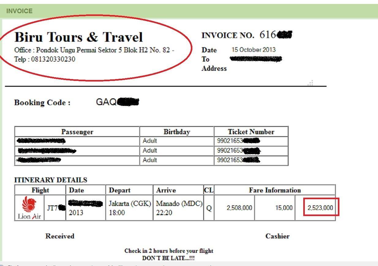 Contoh Invoice Tiket Pesawat - Fir Saw