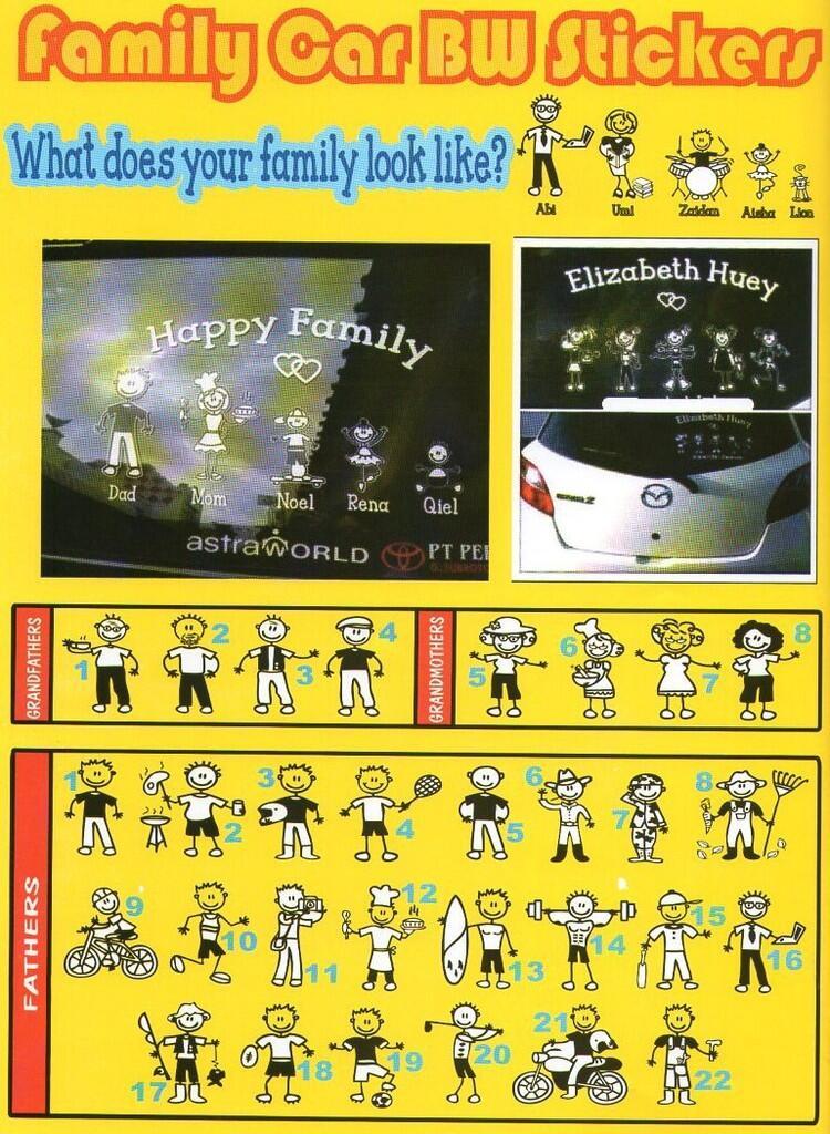 Jual Sticker Happy Family Car (Stiker Karakter Keluarga yg ditempel di Mobil)