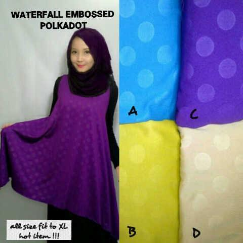 Waterfall embossed polkadot bahan jersey