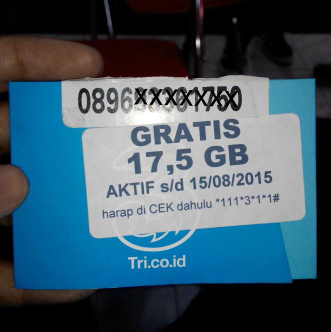 Kartu Perdana 3 (three) free kuota 17.5gb