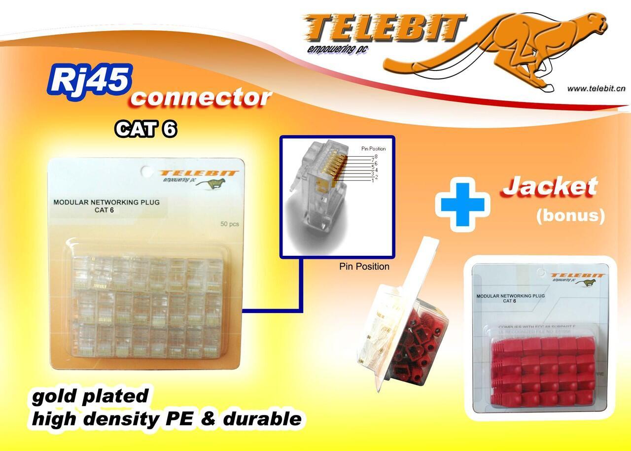 Obral Connector Telebit RJ 45 Cat 6 UTP + Bonus Sleeve