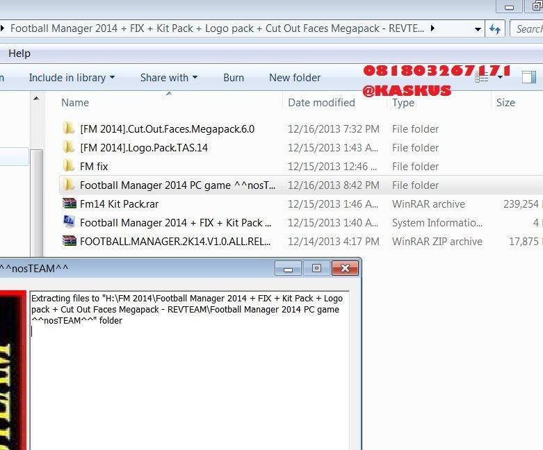 Terjual FM 2014 Football manager14 no crash dump+megapack for MAC + windows  pes 2014 fifa 14
