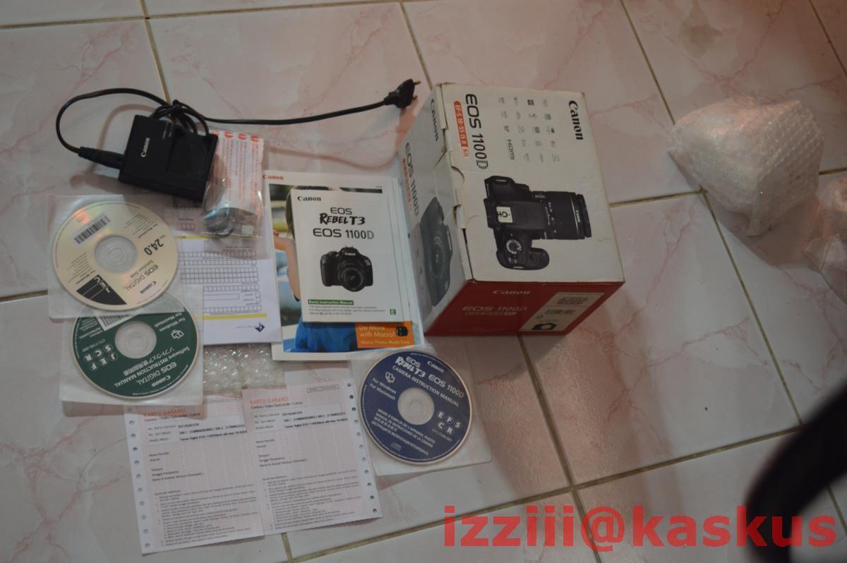 Jual Canon EOS 1100D + lensa EFS 18-55mm IS II Kit Fullset monggo gan,,,
