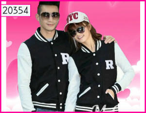 Jaket Couple Baseball R Hitam