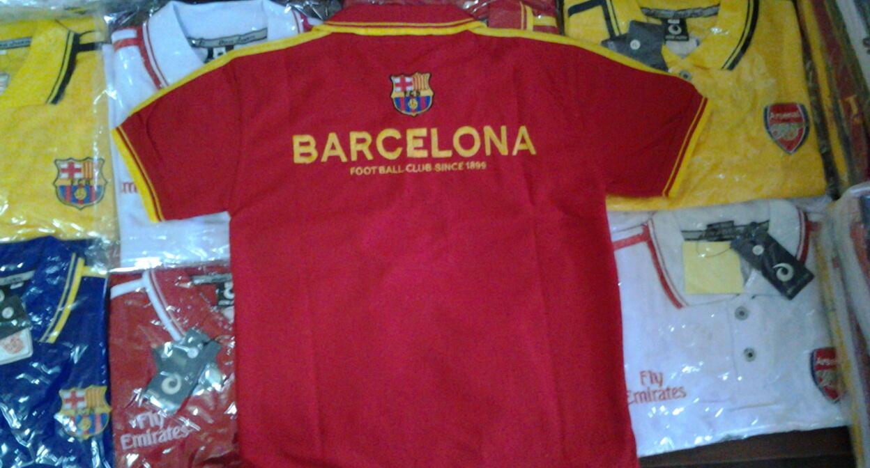 Jual kaos polo/kerah bola anak , Barca, Arsenal (4-6 tahun)