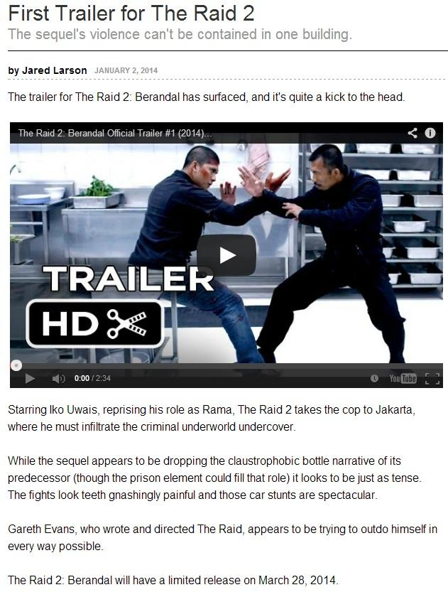 The Raid 2 dibuat artikelnya sama IGN gan !!