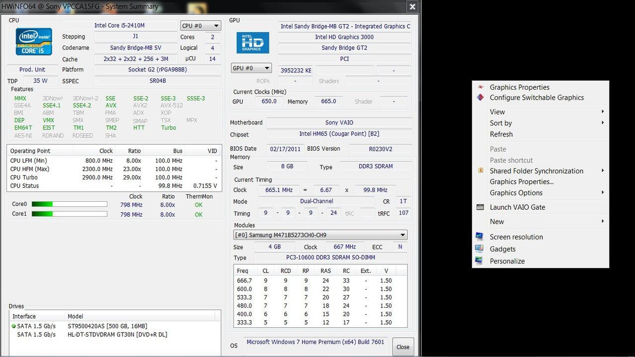 Sony Vaio PCG-61711W, Core i5, ram 8GB, Hdd 500, double VGA intel HD 3000 + ATI 6630M