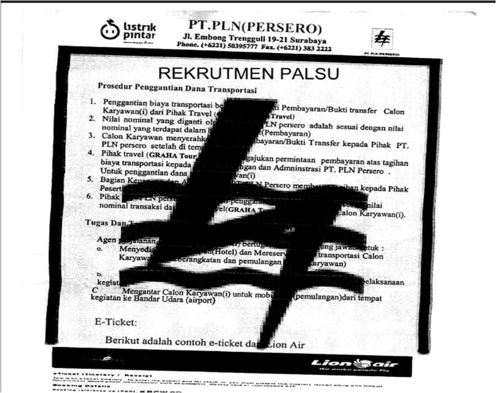 REKRUTMEN PLN PALSU *JOB SEEKER HARAP HATI-HATI !!!