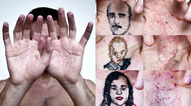 """[AMAZING] Seniman Jahit """"TELAPAK TANGAN"""" nya demi menggambar Karikatur Keluarganya"""