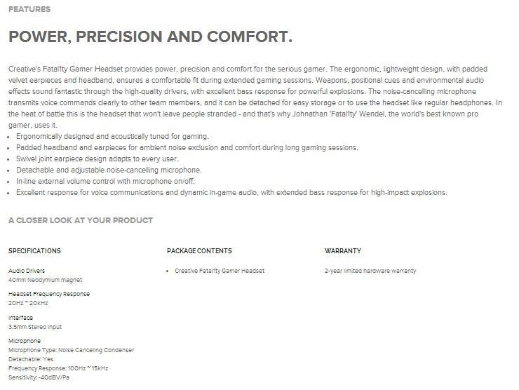 [ZENAUDIO] READY STOCK Creative Gaming Headset HS-800 Fatality BNIB