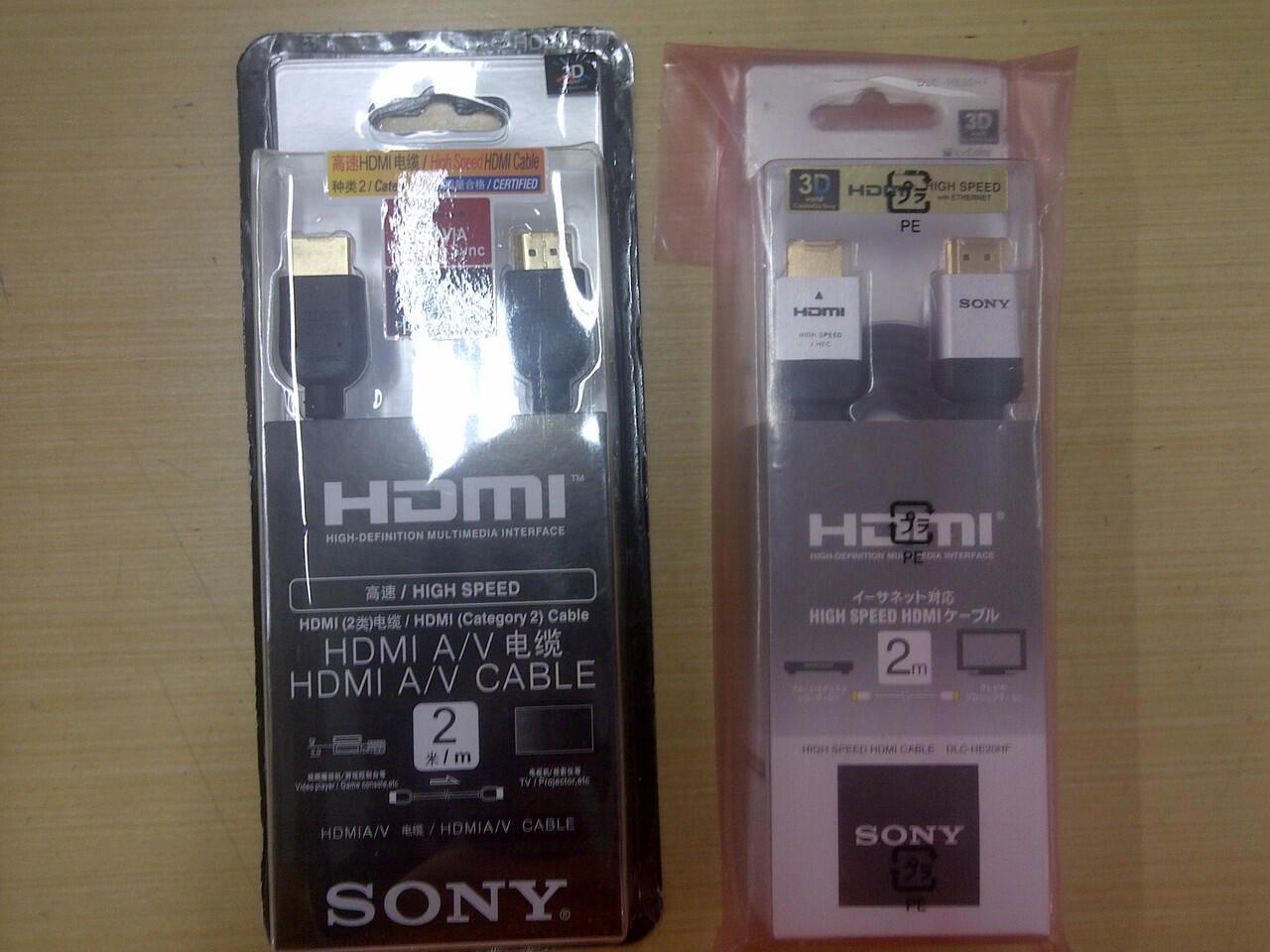 KABEL HDMI SONY 2METER FLAT PIPIH DLC-HE20HF ORIGINAL VERSI1.4 3D SUPPORT GOLD PLATED