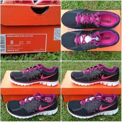 Jual sepatu running cewe wmns nike flex 2013 black/pink rashberry