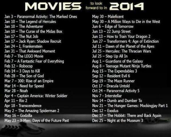 Deretan film yang bakalan tayang di tahun 2014