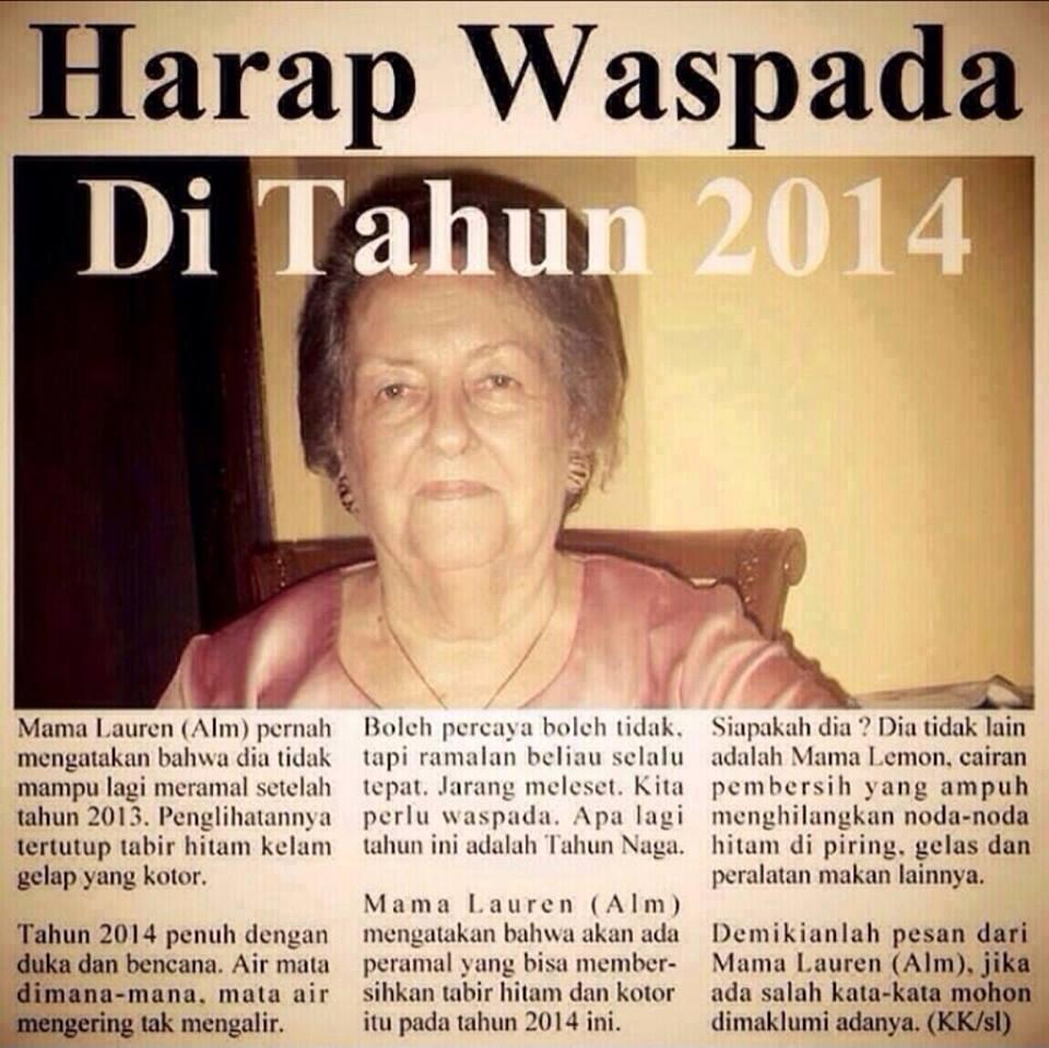 MAMA LAUREN BERBICARA GAN ! WASPADA TAHUN 2014 !