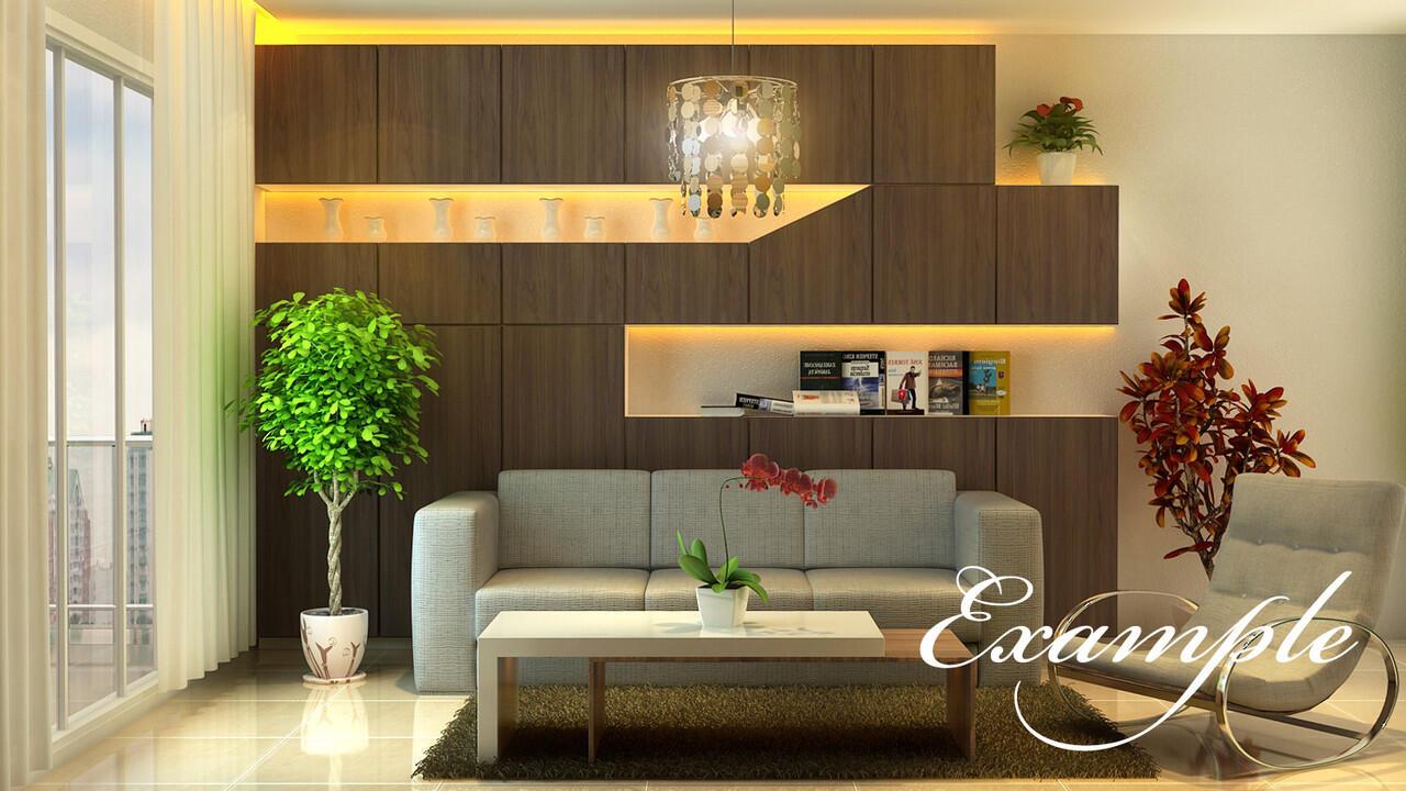 Jasa desain interior rumahkantorrukogedungvray render arsitek