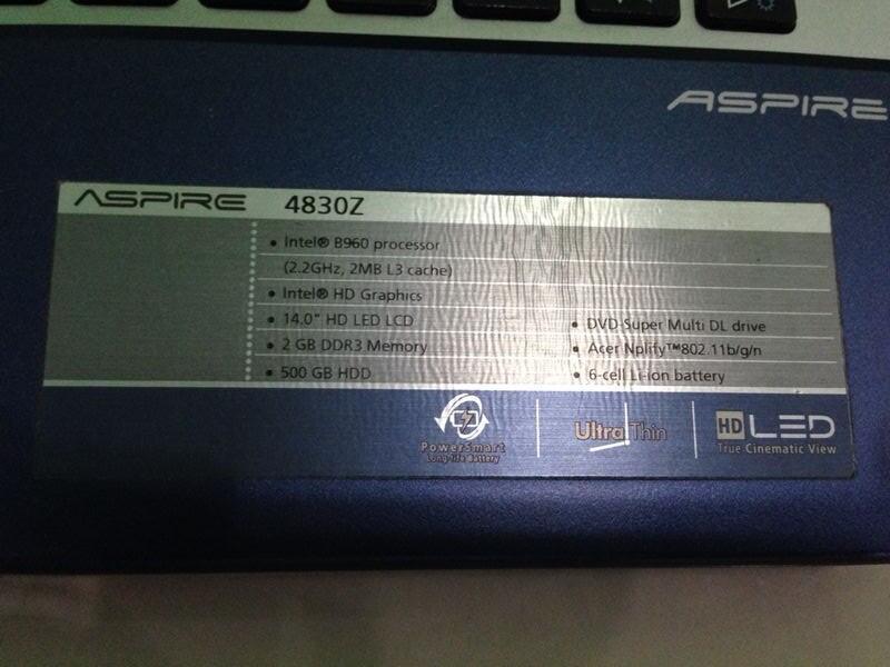WTS Notebook/Laptop ACER 4830z Biru Second/Bekas/2nd. USB 3. Battere Mantap. Bandung