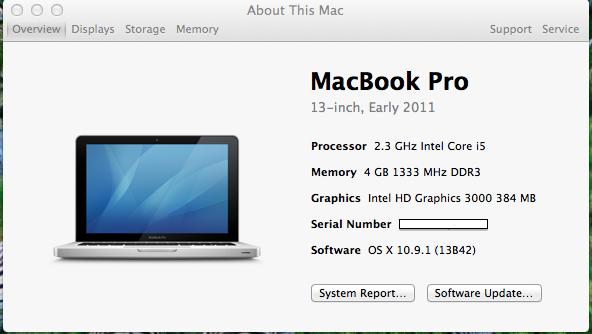 "Macbook pro 13"" i5 2.3ghz Model 8.1 Early 2011 Bandung"