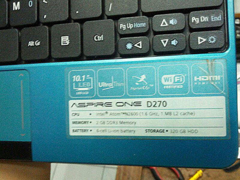 Laptop Netbook ACER ASPIRE ONE D270 lkp grs resmi 1,3 Jakarta