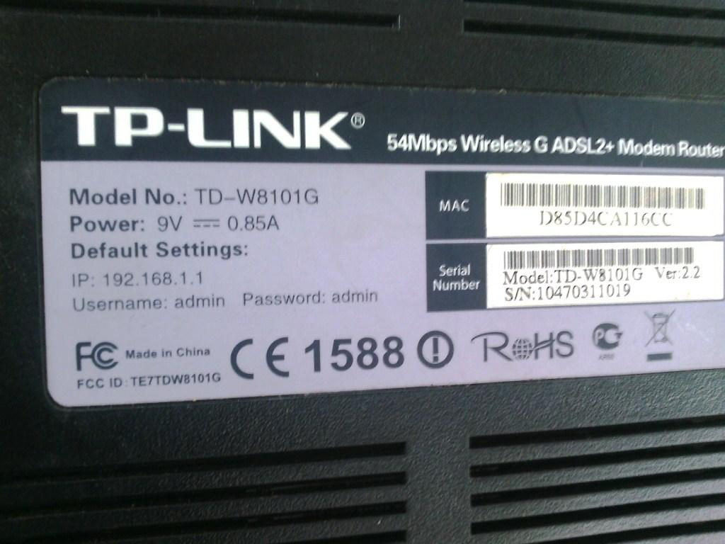 tp-link TD-W8101G 54mbps wireless WIFI adsl2+ Modem Router solo murah