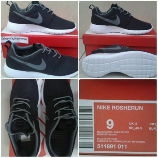jual sepatu Running nike Rosherun black/cool grey-white original