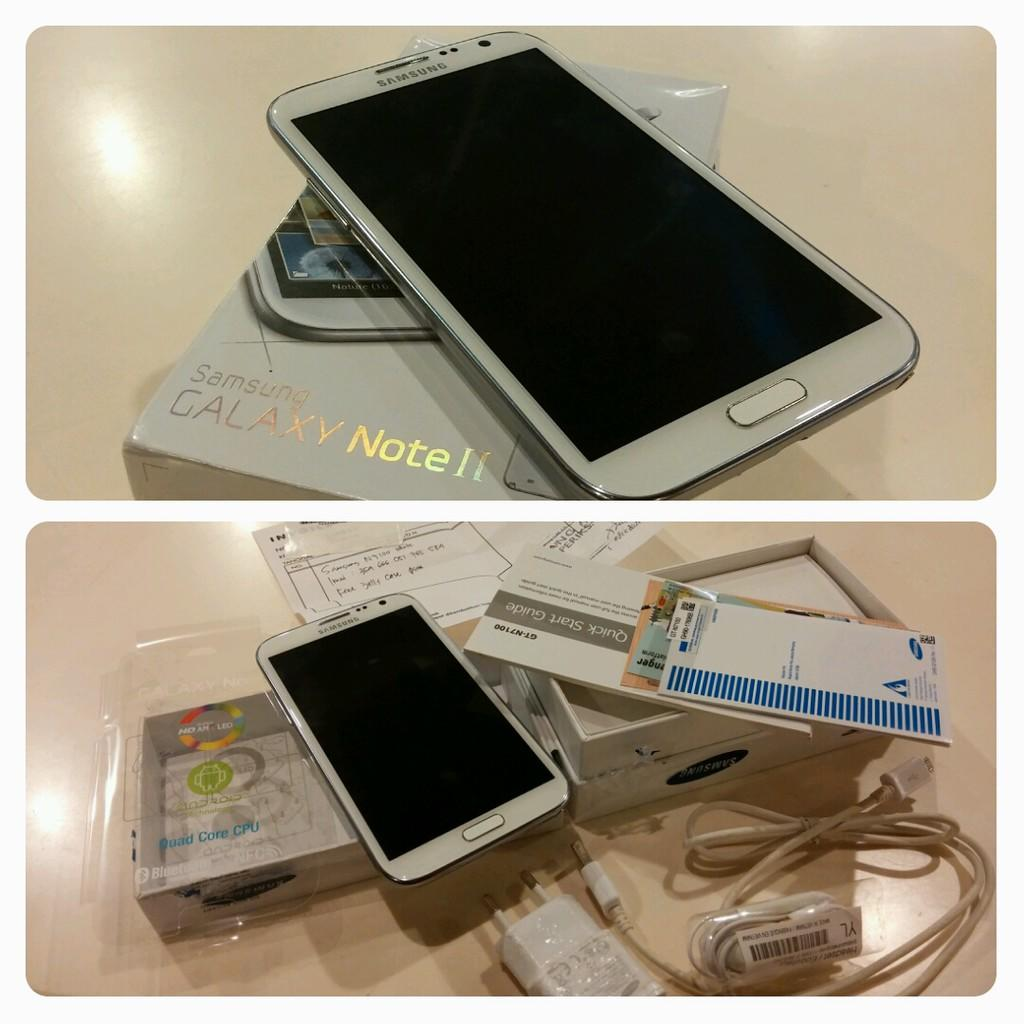 jual samsung galaxy Note 2 N7100 white Fullset Like new,,,,No dent,,, No dead pixel,,