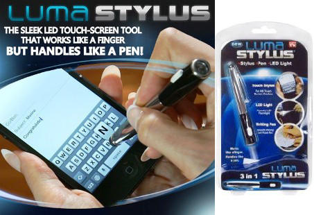 Luma Stylus dilengkapi pen tulis dan senter mini, hanya seharga Rp 49.000,-