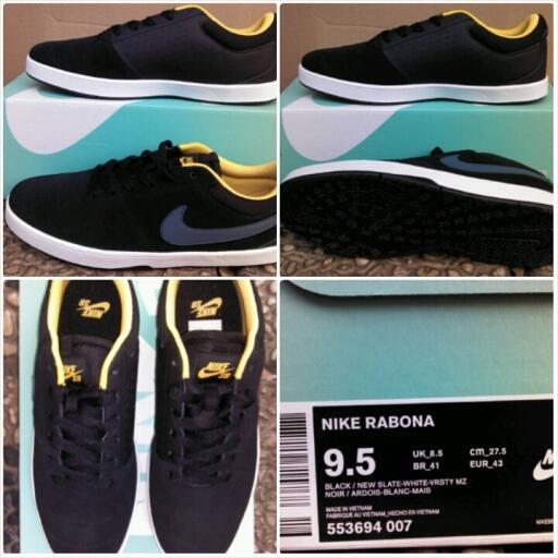 jual sepatu casual skateboard Nike SB rabona black/new slate original