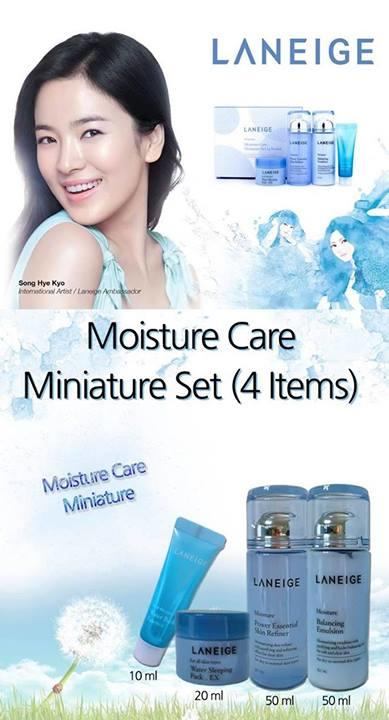 Ready Laneige Moisture Care Min.4 Set(melembapkan+mencerahkan+glowing pd wajah)