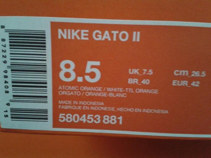 jual sepatu futsal nike gato II atomic orange   white total orange original 152a2a4fc08c6