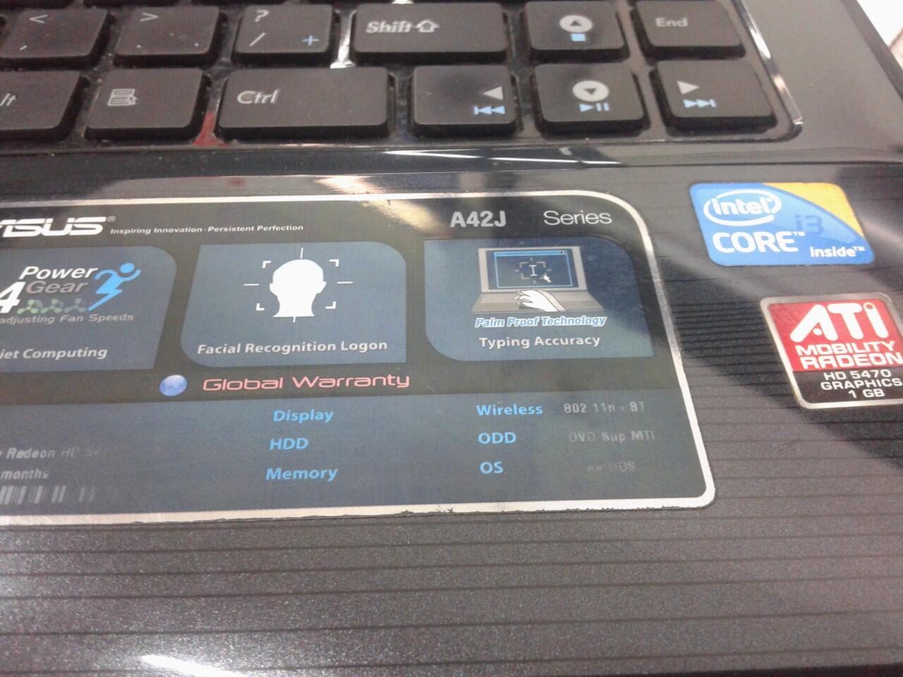 Laptop asus A42J cor i3 ram 4G HD 320G bs di TT semarang