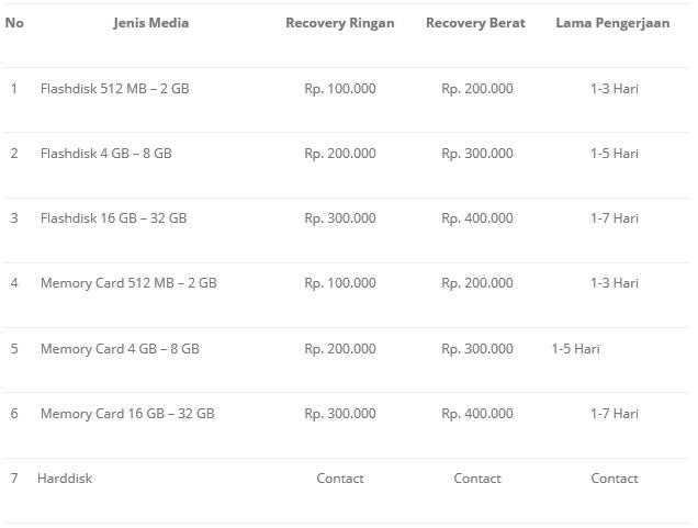 Jasa Mengembalikan (Recovery) Data Flashdisk & Memory Card