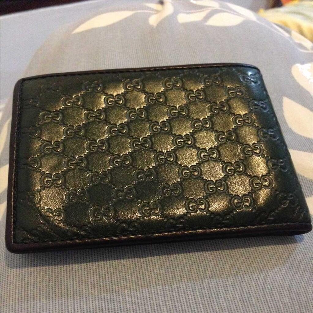 microguccissima leather bi-fold wallet Green/Brown