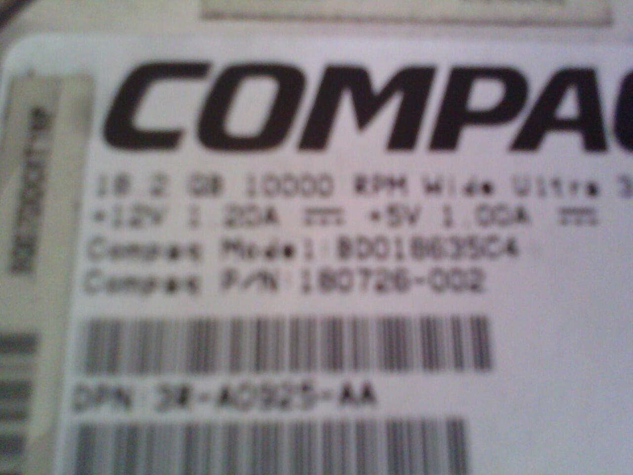 Harddisk SCASI 36,4gb-18,2gb compaq