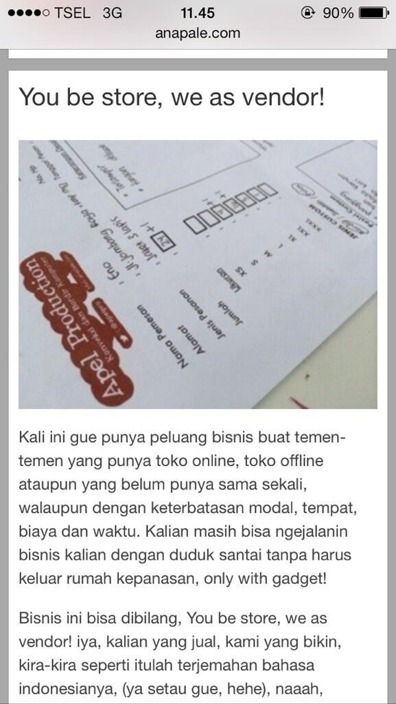 Konveksi Apel Production Jakarta, Vendor (Kaos, kemeja, jersey, jaket, dll)