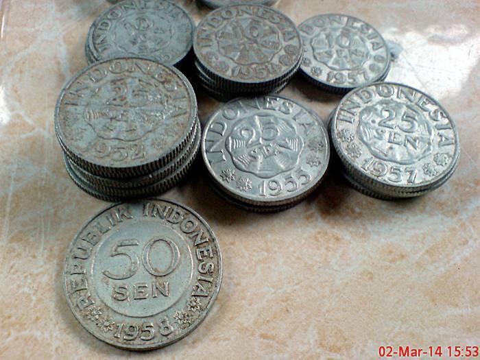 uang kuno koin lawas 1sen,5sen,10sen,25sen,50sen tahun 1951 1952 1954 1955 1957 1958