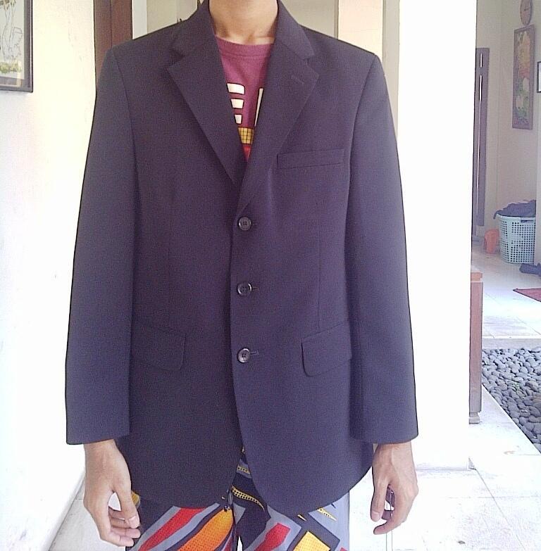 Jas Hitam Formal Pria merek Lawell size 48 bonus celana