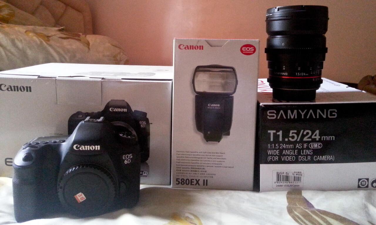 Canon 6 D Wifii, Speedlight 580exii, Samyang T1.5/24mm