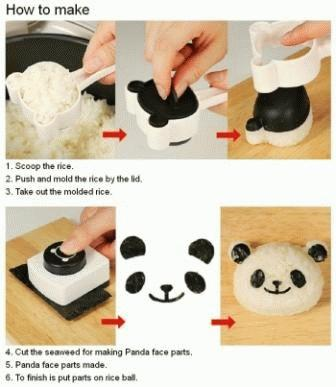 Rice Mold - Set Panda with puncher