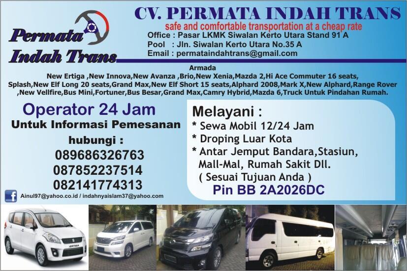 Rental Mobil Surabaya Aman, Nyaman, Terpercaya CV. Permata Indah Trans