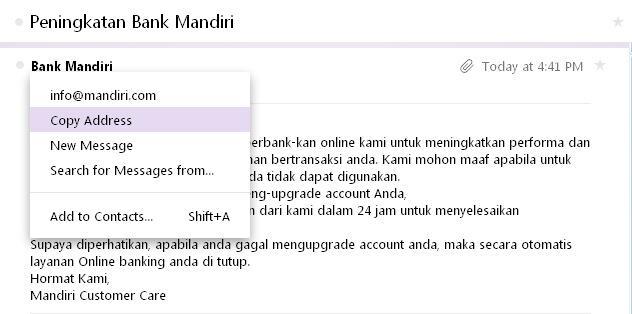 PENIPUAN VIA EMAIL YANG MENGATASNAMAKAN BANK MANDIRI