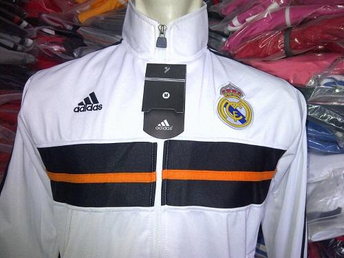 JAKET BOLA GRADE ORI REAL MADRID ANTHEM 2014 PUTIH MADE IN THAILAND BAGUS BARU MURAH