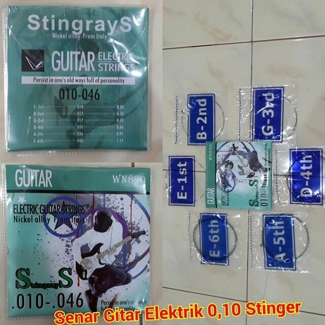 Jual Senar Gitar stinger dan elektrik / electric 0,10 nylon harga murah gan