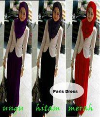 Baju Dress Paris Maxi+Pasmina - Spandek (1Pcs Ok)