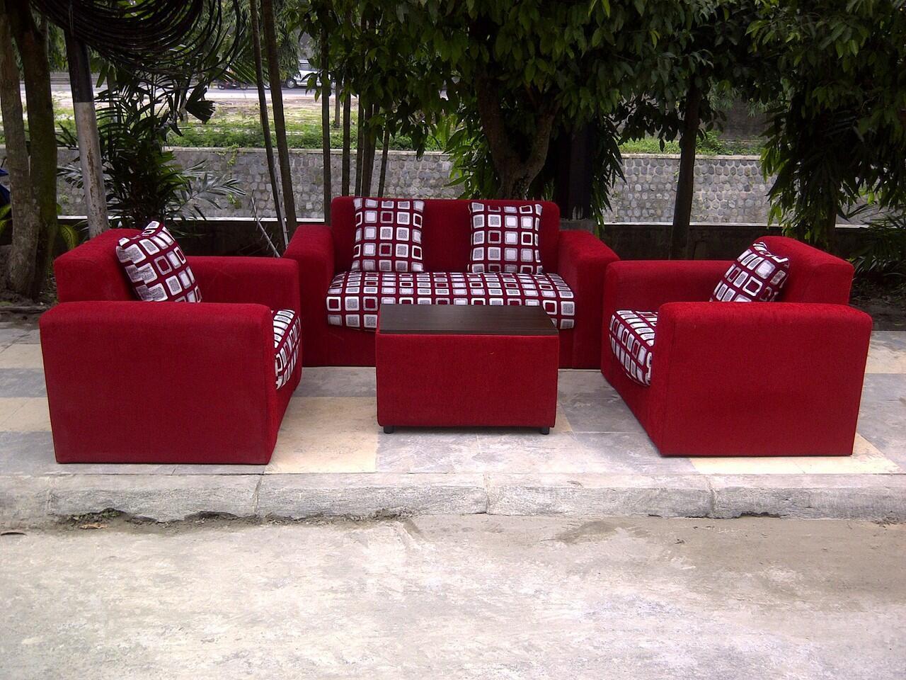 sofa 211 minimalis red/kotak fabric