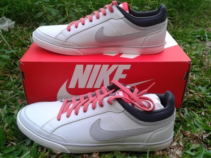 jual sepatu casual nike capri III low lthr platinum / wolf grey original