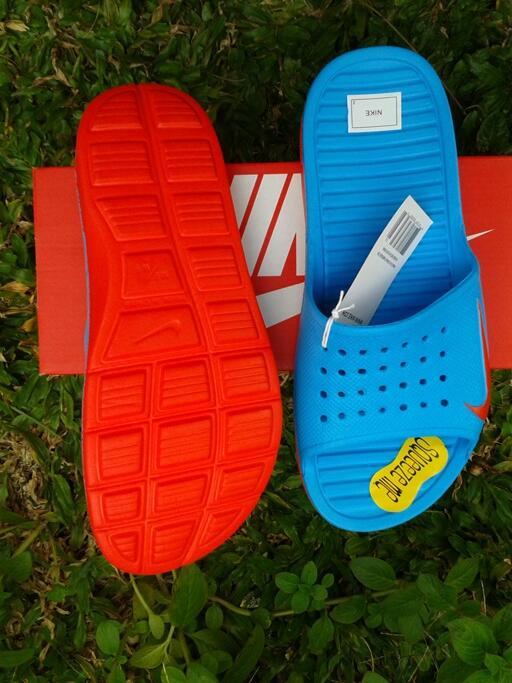 jual sandal nike solarsoft slide vivid blue original
