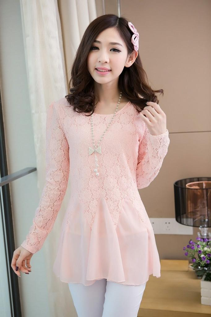 Blouse Import Lace (warna Light pink, light green, black)