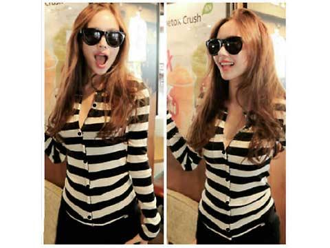 blouse stripes chic B648 (SUPPLIER LADY CLOTH)